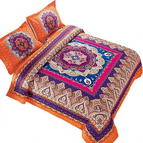 Wake In Cloud - Mandala Duvet Cover Set, Orange Bohemian Boho Chic Medallion Printed Soft Microfiber Bedding, with Zipper Closure (3pcs, King Size)