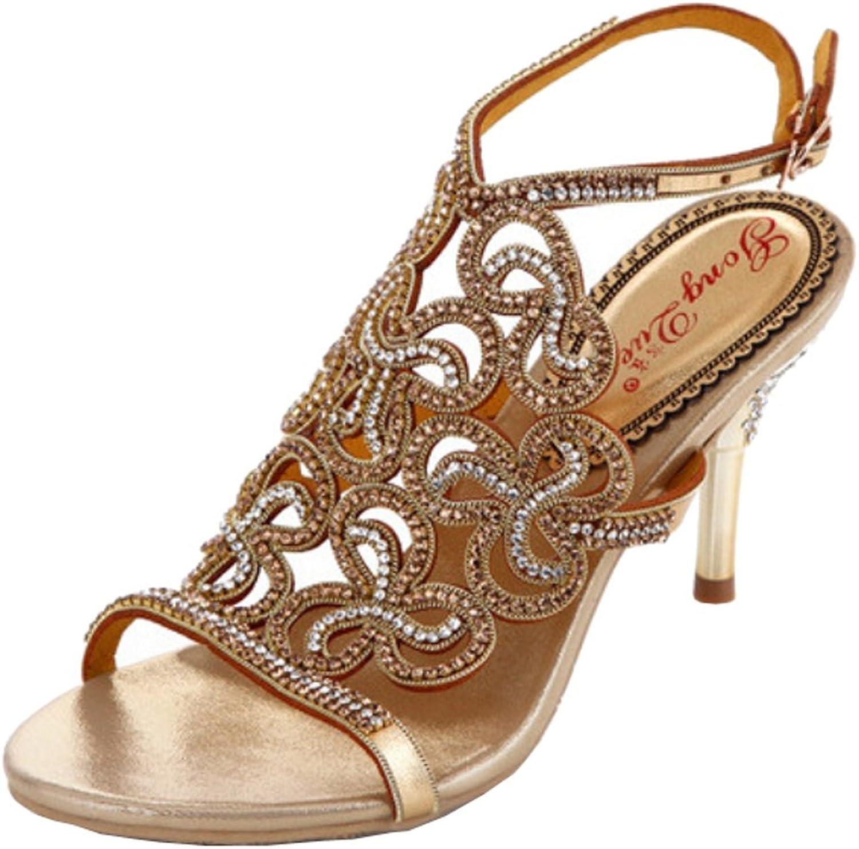 Salabobo Womens Nice Fashion Wedding Party Job Rhinestone Leather Mid Heel Sandals
