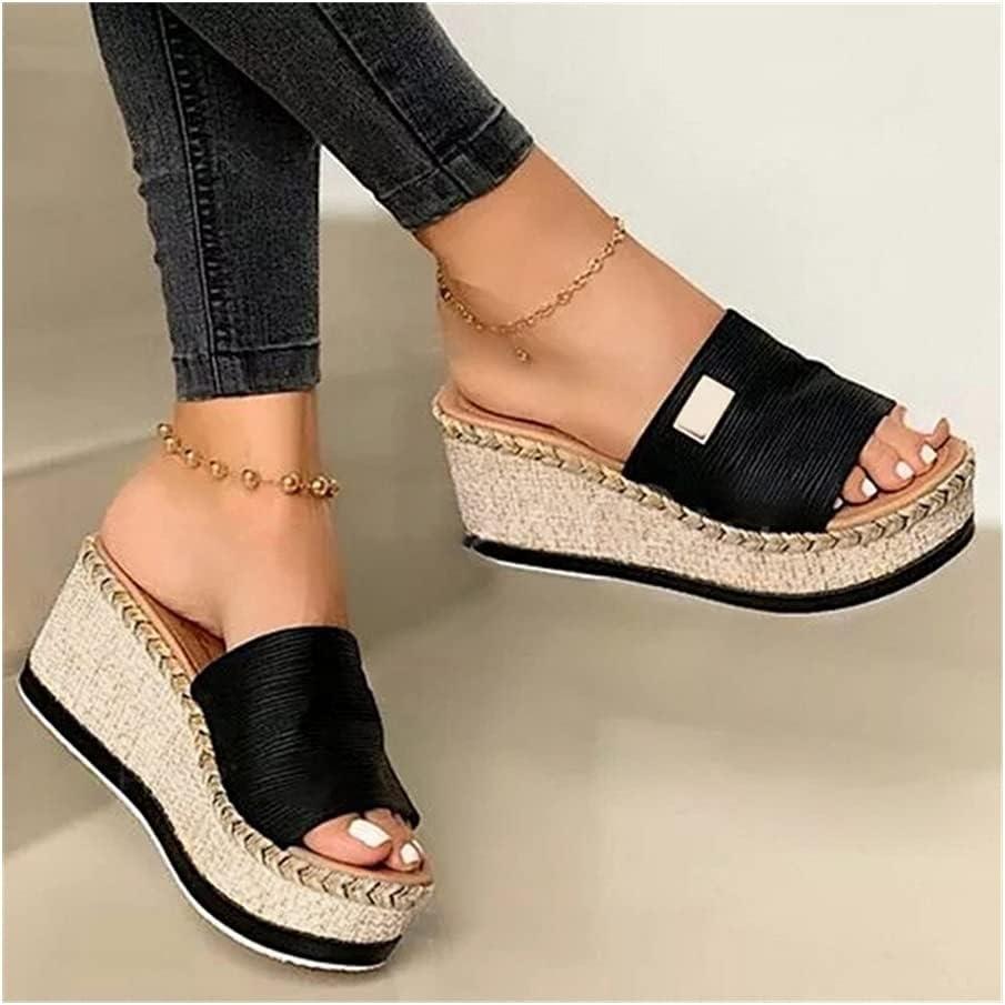 Women Sandals 2021 New Heels Woman Slippers Platform Wedges Shoes Ladies Summer Slides Mujer Buckle Flip Flops Plus Size 43 (Color : D Black, Shoe Size : 43)