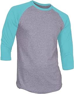 DS Men's Plain Raglan Shirt 3/4 Sleeve Athletic Baseball Jersey S-3XL (40+ Colors)
