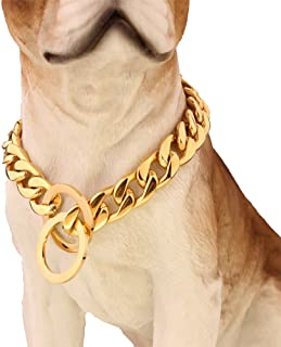 W&W Lifetime Ultra Strong Designer Pitbull Dog Collar - 13mm Wide Slip Chain Collar - 680 Lbs Strong! - Best for Pit Bull, Mastiff, Bulldog, Big Breeds, 16