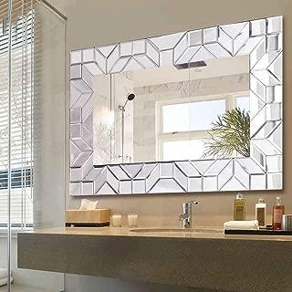 WATERJOY Large Framed Rectangular Bathroom Mirror, Sliver Vanity Glass Wall Make-up Mirror, 36