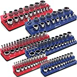 Olsa Tools Magnetic Socket Organizer | 6 Piece Socket Holder Set | 1/2-inch, 3/8-inch, & 1/4-inch Drive | Metric Blue, SAE Red | Holds 143 Sockets | Professional Quality Tool Organizers