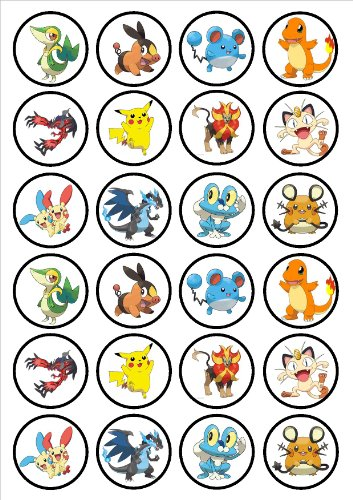 24 Pokemon Edible PREMIUM THICKNESS SWEETENED VANILLA,Wafer Rice Paper Cupcake Toppers/Decorations