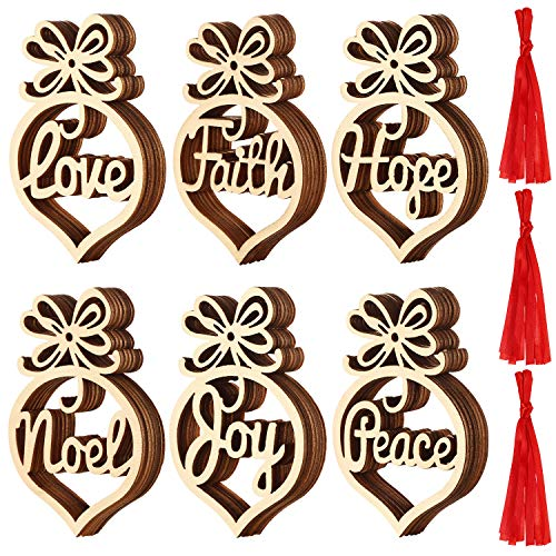 SATINIOR Christmas Wooden Ornaments Xmas Tree Hanging Tags Pendant Hollow Out Ornaments for Christmas Decorations, 6 Styles (36)