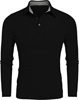 Men's Classic Dry Fit Long Sleeve Golf Polo Shirts Casual Striped Collar Polo T Shirt