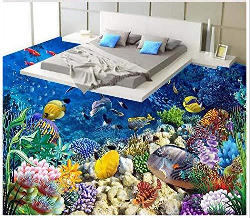 Papel tapiz 3d personalizado pintura de pisos 3d papel tapiz murales de la habitación 3d submarino delfín piso de baldosas pintura de piso 3d foto wallpaer-350 * 275cm