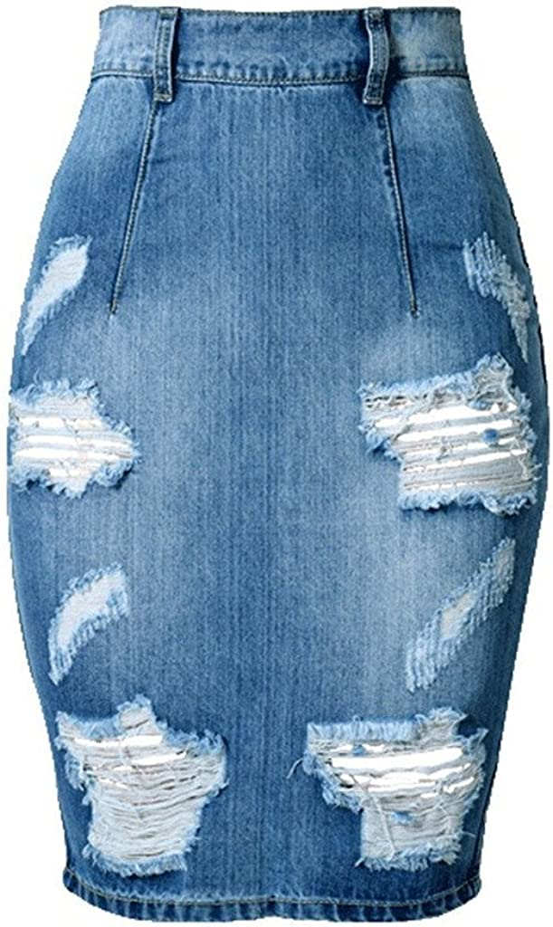 ColorFino Women's High Waist Washed Jeans Skirts Denim Pencil Skirts