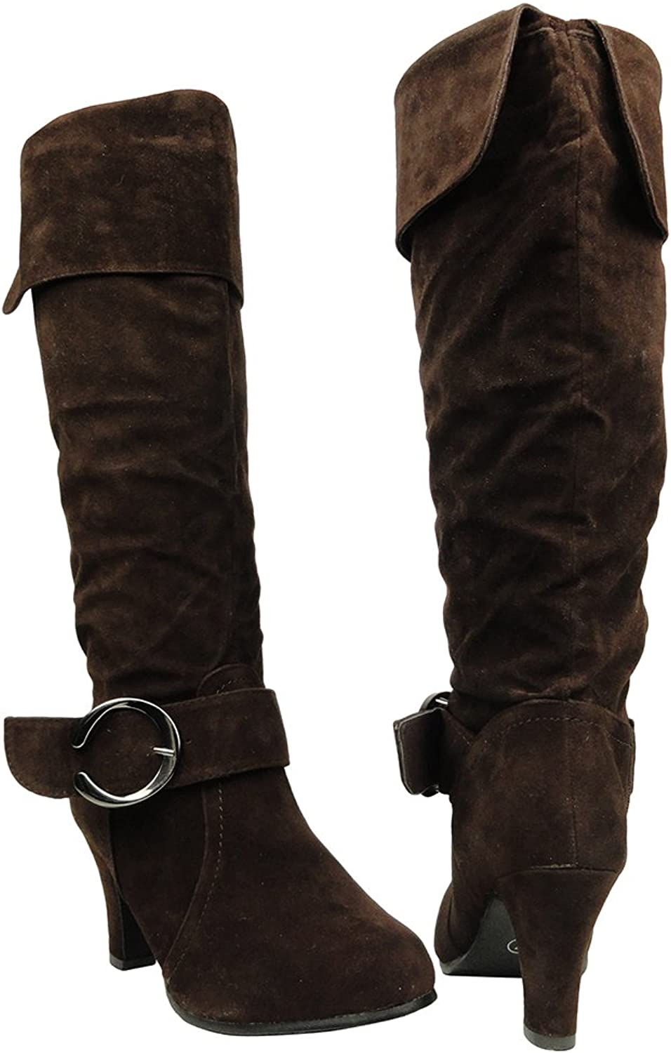 Womens Knee High Boots Folded Cuff Buckle Accent Side Zipper Closure