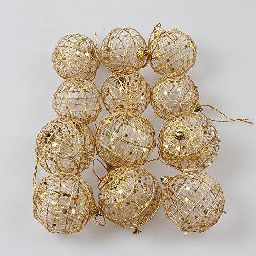 Ocamo - Decoración navideña para árbol de Navidad (6 unidades), diseño de bolas doradas