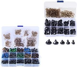 JZK 264 Piezas ojos de seguridad + 100 narices de seguridad con caja para fabricación de juguetes, tamaños surtidos saltones plástico ojos y narices con arandelas para peluche oso de peluche muñecas