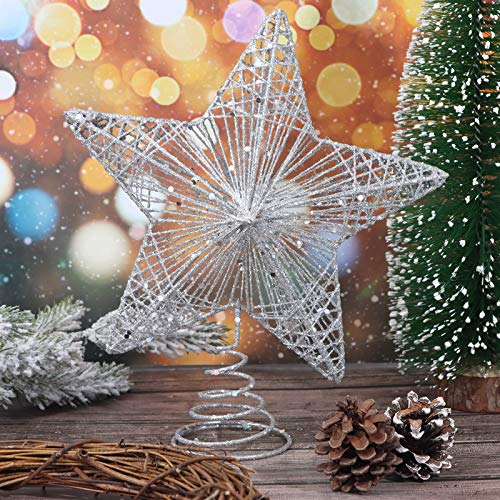 LOCOLO Christmas Tree Topper Xmas Glitter Star Tree Topper Silver Star Snow Tree Topper for Christmas Tree Decorations