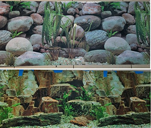 Karen Low 19 Inch Height Double Sided Aquarium Background Decorations Rocks and Stones (60