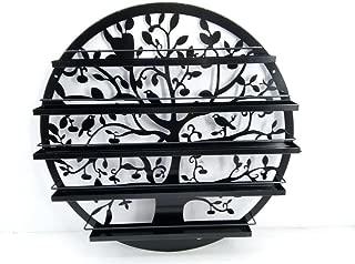 FixtureDisplays Wall Mounted 5 Tier Nail Polish Rack Holder, Tree Silhouette Round Metal Salon Wall Art Display, Black 16785