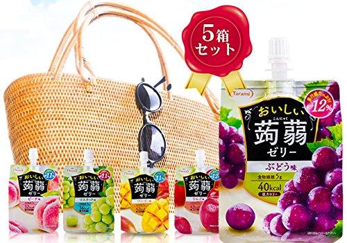 たらみ おいしい蒟蒻ゼリー 30個セット (ぶどう・ピーチ・りんご・マスカット・マンゴー 各6個ずつ)