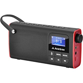 Avantree SP850 Portable FM Radio with Bluetooth Speaker and SD Card Player 3-in-1, MP3 Player with Headphones Socket, Auto Scan Save, LED Display, Rechargeable Battery Transistor Radio (No Am)