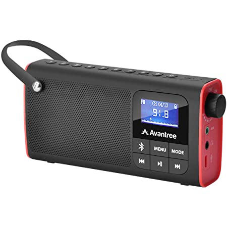 Avantree SP850 Rechargeable Portable FM Radio with Bluetooth Speaker and SD Card MP3 Player 3-in-1, Auto Scan Save, LED Display, Small Handheld Pocket Battery Operated Wireless Radio (No AM)