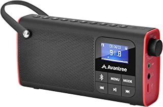 Avantree Portable FM Radio With Bluetooth Speaker and SD Card Player 3-In-1, MP3 Player With Headphones Socket, Auto Scan ...