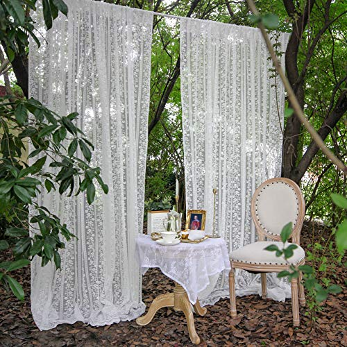 HAVII 10ft x 9ft White Sheer Backdrop Curtain Vintage Lace Fabric Voile Drapes for Wedding Arch Swags Valance Party Reception Stage Decoration