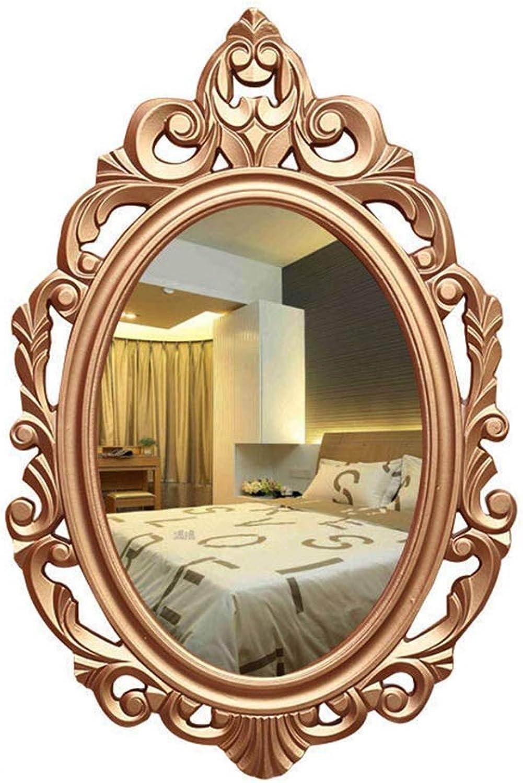 Bathroom mirror Wall Hanging European Creative Dressing Table mirror Makeup mirror Retro Hotel KTV Beauty Salon Bedside mirror-2 Size (Size   60  39cm)
