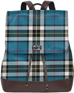 Thompson Mactavish Tartan Women Leather Backpack for Travel Shopping Casual Laptop Fashion Bag