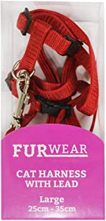 Furwear Fashion Cat Harness with Lead, Large, Red