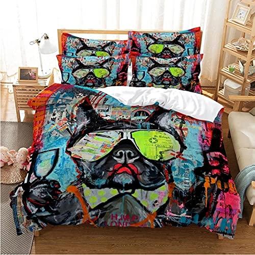 3D di biancheria da letto Fantastico cane da combattimento francese Biancheria da letto in microfibra, con cerniera, set biancheria da letto 3 pezzi - 1 copripiumino--240x260cm + 2 federe 80x80 cm