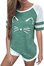 LIM&Shop Women Summer T-Shirt Cat Print Top Short Sleeves Crew Neck Loose Blouse Casual Tunic Striped Shirt Pullover