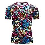 Camiseta térmica Interior para Hombre,Camiseta de Manga Corta Impresa en 3D, Apretada elástica Transpirable de Secado rápido-02_L,Camisetas Cuello Redondo Lisas