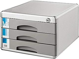 FGDSA Armários de arquivo Divisórias de armário de arquivo 3 gaveta Trava de Liga de alumínio Armário de arquivo prateado ...