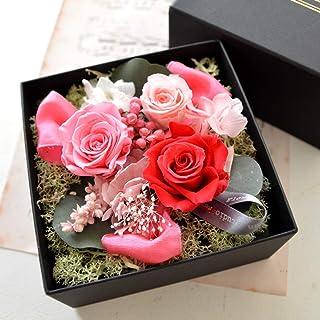本物!プリザーブドフラワー ギフト 香る フラワーボックス 【アロマbox】 プレゼント フラワー ボックス入り アレンジ 香り付き (ピンク)