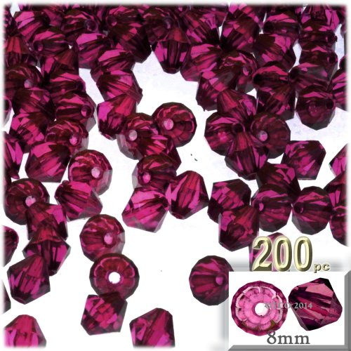 The Crafts Outlet, 200-pc Acrylic Bicone Beads, Faceted, 8mm, Fuchsia