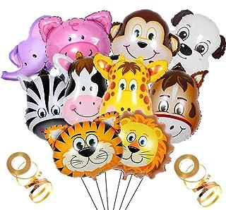 Crazy-M 10 Unids Foil Balloon Animales Juego de Helio, Globos Inflables Jungle Animal Balloon Foil Globo para Fiesta de Cumpleaños Decoración de Regalo, Globos de Animales Gigantes