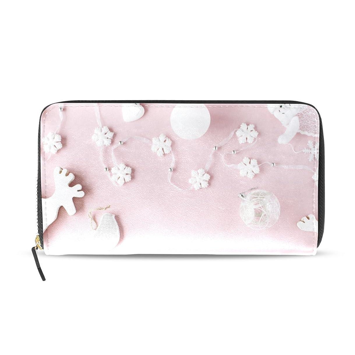 爆発物目的適用済み旅立の店 長財布 人気 レディース メンズ 大容量多機能 二つ折り ラウンドファスナー PUレザー  ピンクの背景に白い装飾物 プリント ウォレット