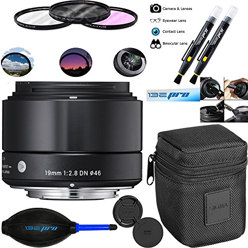Sigma 19mm F2.8 EX DN Art (Black) for Sony SE - Deal-Expo Bundle