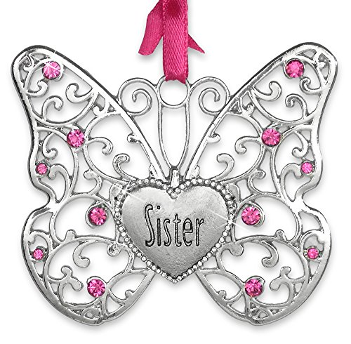 BANBERRY DESIGNS Sister Butterfly - Silver Filigree Ornament with Pink Crystals and Sister Engraved on Heart Charm - Sister Gifts - Sister-in-Law Birthday