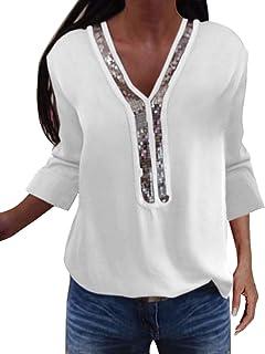 YOINS Sexy Schulterfrei Oberteil Damen Langarmshirt Elegant Glitzer Oberteile für Damen Pulli Bluse Bling Rundhals