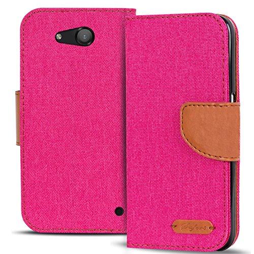 Verco Lumia 550 Hülle, Schutzhülle für Microsoft Lumia 550 Tasche Denim Textil Book Case Flip Case - Klapphülle Pink