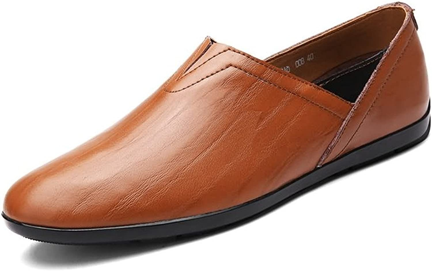 2018 new Men's Loafers PU Leather Slip on Fashionable Moccasins Casual shoes (color   Red Brown, Size   7 UK)
