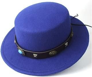 2019 Mens Womens Hats Unisex 2019 Men Women Flat Top Hat CasualSteampunk Belt Dad Church Hat Wide Brim Jazz Hat Fascinator Hat Size 56-58CM Outdoor Travel (Color : Blue, Size : 56-58)