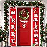 Juego de 3 banderines de Navidad con texto en inglés «Merry Christmas» y carteles para puerta de casa, porche, pared, interior y exterior, día festivo, decoración de fiestas de Navidad