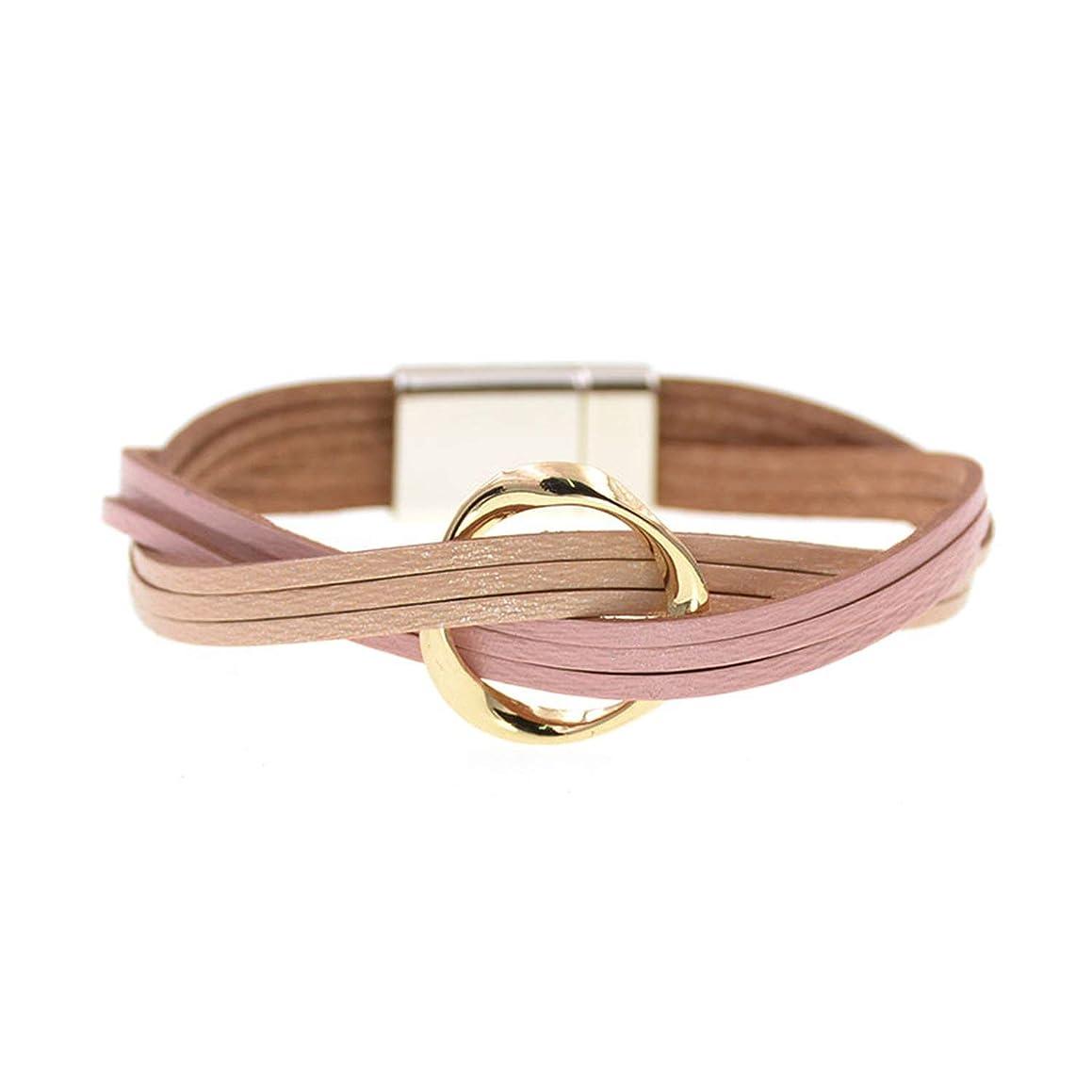 18 Colors Charm Leather Bracelets for Women & Men Multiple Layers wrap Bracelets Couple Gifts Fashion Jewelry,Pink Beige,19cm