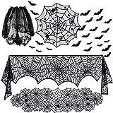 TUPARKA 36 Pezzi Set di Decorazioni di Halloween Include Runner di Ragnatela di Pizzo, copriletto Rotondo di Ragnatela, Sciarpa da Camino, Copertura Paralume e Adesivi Pipistrelli 3D di Halloween