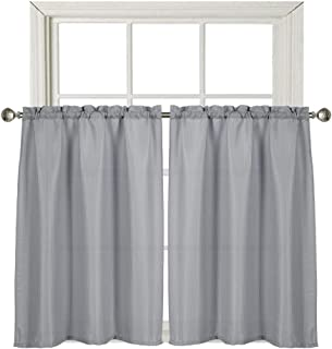 Home Queen Waffle Waterproof Tier Curtains for Bathroom Window, Short Room Darkening Rod Pocket Kitchen Curtains, 2 Panels, 36 W X 45 L Inch Each, Solid Grey