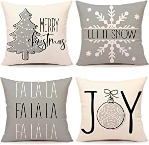 4TH Emotion Gray Christmas Pillow Covers 18x18 Set of 4 Farmhouse Christmas Decorations Merry Tree Joy Let It Snow FA La La Winter Holiday Decor Throw Cushion Case for Home Couch TH055-18