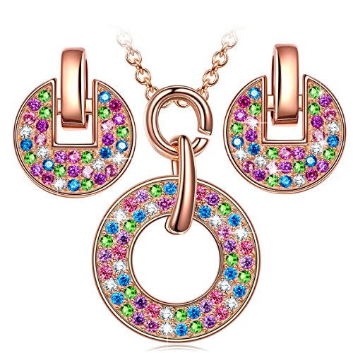"""LadyColour Valentines Day Gifts """"Rainbow"""" Multicolored Jewelry Set Made with Swarovski Crystals, Women Fashion Pendant Necklace and Stud Earrings Set, Birthday Gifts Anniversary Gifts Christmas Gifts"""