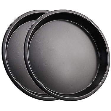 Mokpi Nonstick Pizza Baking Pan Round Cheesecake Pan Oven Safe Tray Bakeware (2, 7-Inch)
