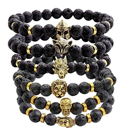Jovivi Jewelry 6pc Men Women 8mm Mix Style Gold Plated Lion/Wolf/Fox/Sparta Helmet Black Lava Energy Stone Beads Stretch Bracelet