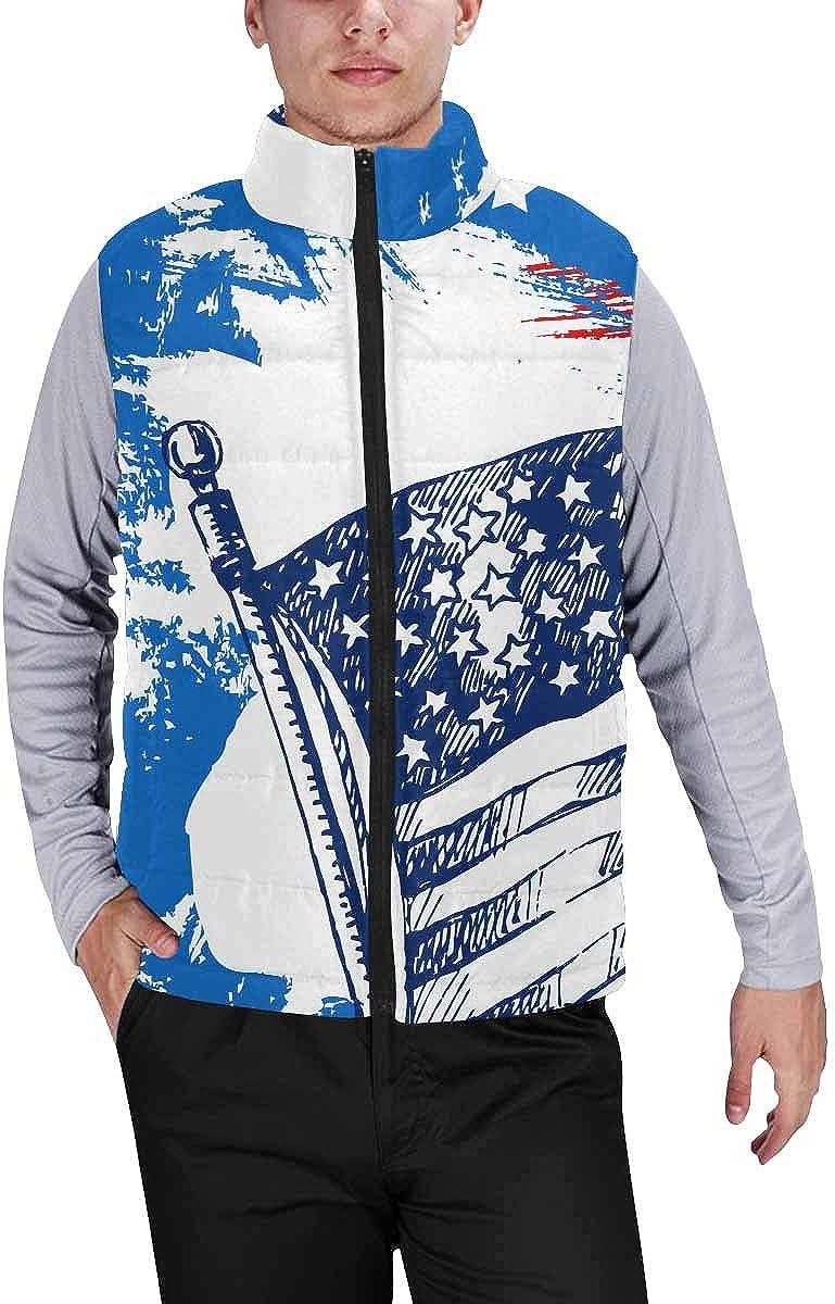 InterestPrint Men's Lightweight Keep Warm Puffer Vest for Outdoor Alpaca Portrait