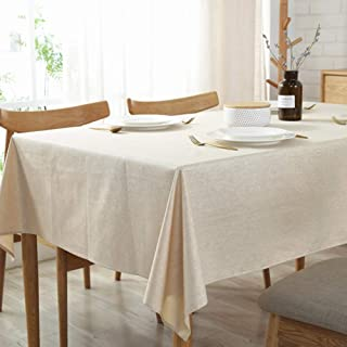 Amzali Solid Cotton Linen Tablecloth Heavy Weight Table Cloth Waterproof Table Cover Dust-Proof Picnic Kitchen Dinning Tabletop Home Decoration (Oblong 36 X 53 Inch, Beige)